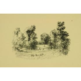 Untitled (Landscape with House and Three Animals Grazing)
