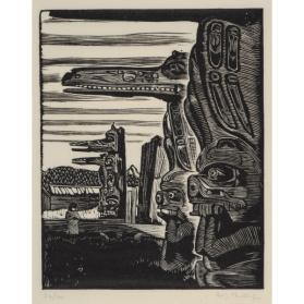 THE HOH-HOK HOUSE POSTS AT KARLUKWEES