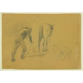 STUDY OF A MAN AND A HORSE