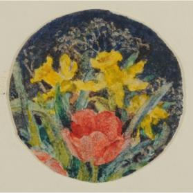 TWO DAFFODILS AND ONE RED TULIP