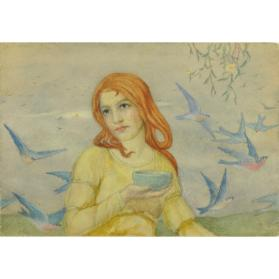 GIRL WITH RED HAIR AND YELLOW DRESS