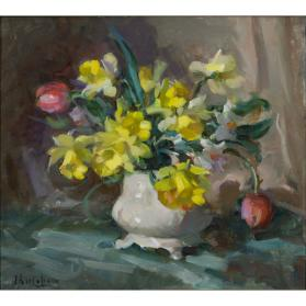 Untitled (vase of daffodils, narcissi, and tulips)