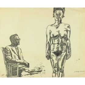 UNTITLED: SEATED MAN AND NUDE FEMALE
