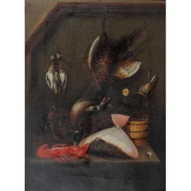 STILL LIFE WITH WILD GAME, FLOUNDER AND LOBSTER