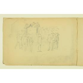 PAUL PEEL SKETCHBOOK: CROWD SCENE AROUND A MAN WORKING ON A ROOF