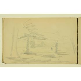 PAUL PEEL SKETCHBOOK: TREED LANDSCAPE WITH BARN IN DISTANCE
