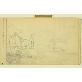PAUL PEEL SKETCHBOOK: MILL BUILDINGS WITH MILL WHEEL AND STREAM