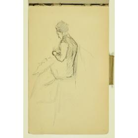 PAUL PEEL SKETCHBOOK:  SIDE AND BACK VIEW OF A WOMAN SITTING IN A CHAIR POSSIBLY KNITTING
