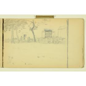PAUL PEEL SKETCHBOOK: FARM BUILDING WITH FENCE AND TREES