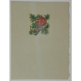 Christmas card [ornaments with evergreen branch]