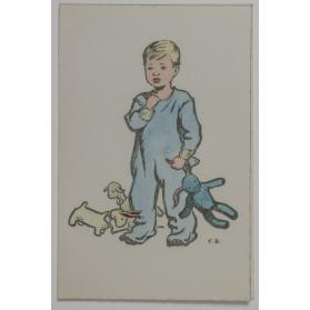 Christmas card [young boy with stuffed animals]