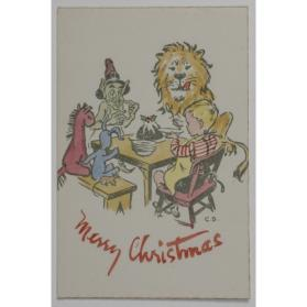 Christmas card [young boy seated at table with animals & imaginary characters]