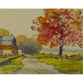 untitled landscape (country lane with barn and tree)