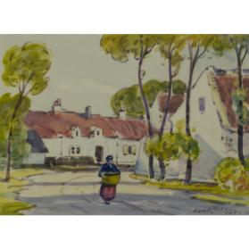 untitled landscape (English cottages with figure)