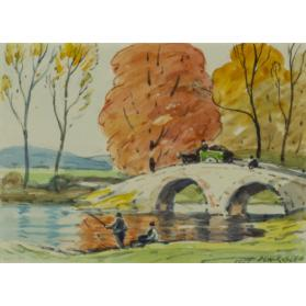 untitled landscape (river with stone bridge, horse and cart, and figures fishing)
