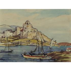untitled landscape (seaside town with boats)