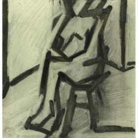 FEMALE FIGURE - BRENDA ROBINSON READING IN THE STUDIO