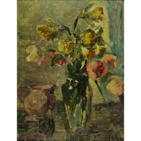 STUDY OF FLOWERS IN A GLASS VASE