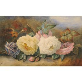 STILL LIFE WITH PINK, YELLOW, WHITE AND VIOLET ROSES