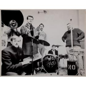GREG'S STUDIO, KING STREET.  ART PRATTEN, JOHN BOYLE, GREG CURNOE, MURRAY FAVRO, HUGH, BILL EXLEY IN MEGAPHONE, MAY 1966