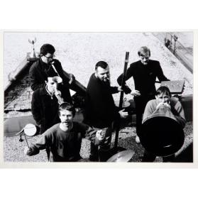 ROOF OF GREG'S STUDIO, KING STREET.  JOHN BOYLE, MURRAY FAVRO, HUGH MCINTYRE, ART PRATTEN, GREG CURNOE, BILL EXLEY, MAY 1966