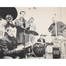 GREG'S STUDIO, KING STREET.  ART PRATTEN, JOHN BOYLE, GREG CURNOE, MURRAY FAVRO, HUGH, BILL EXLEY IN MEGAPHONE, MAY 1966 [NIHILIST SPASM BAND]