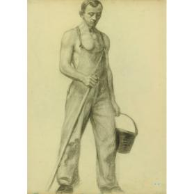 Man Looking Down with Pail and Pole/ Sketch of Seated Figure and Child's Head