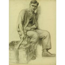 SEATED MAN WITH WICKER BASKET /(SKETCH)